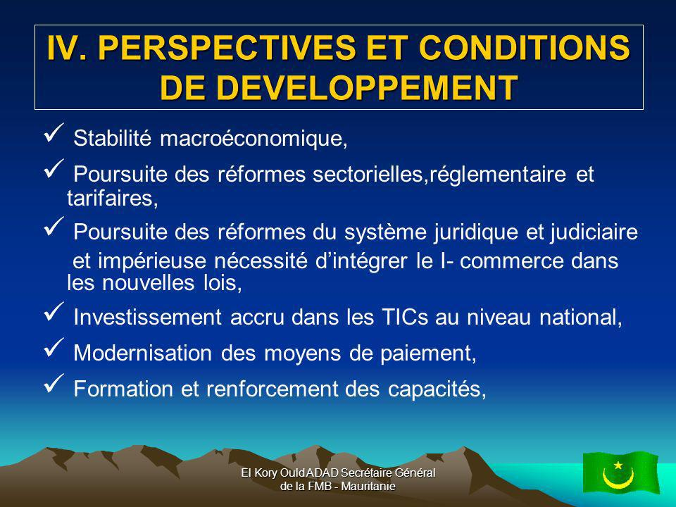 IV. PERSPECTIVES ET CONDITIONS DE DEVELOPPEMENT