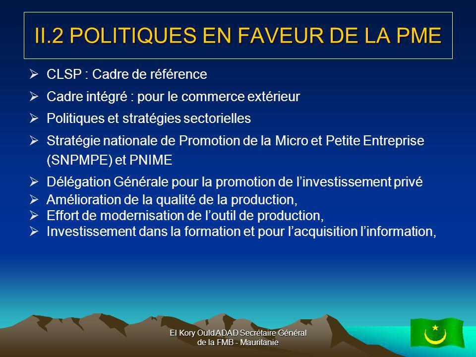 II.2 POLITIQUES EN FAVEUR DE LA PME