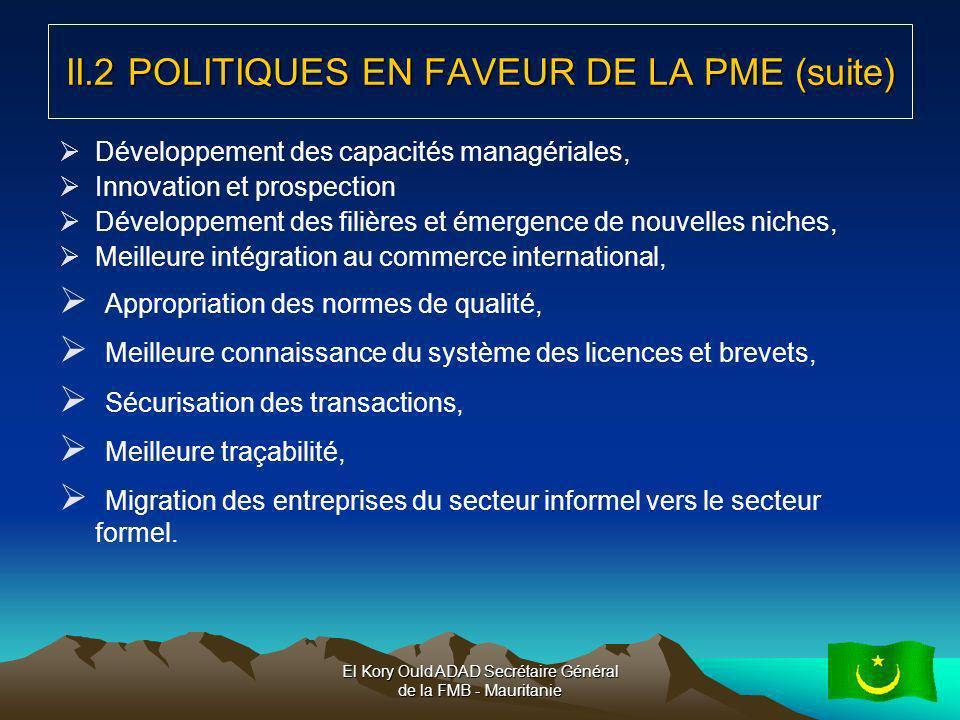 II.2 POLITIQUES EN FAVEUR DE LA PME (suite)