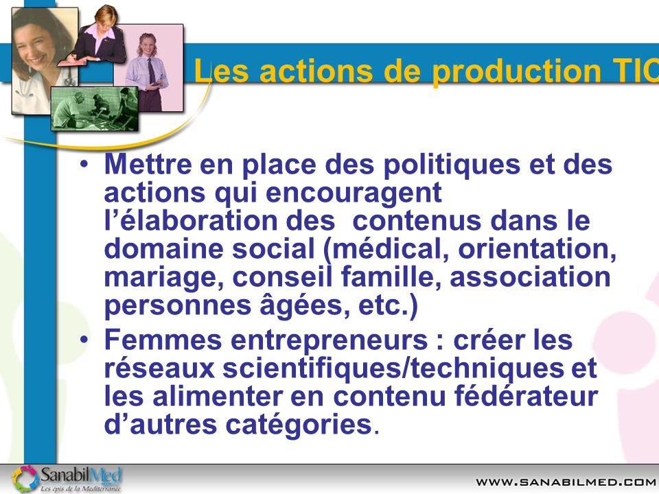 Les actions de production TIC