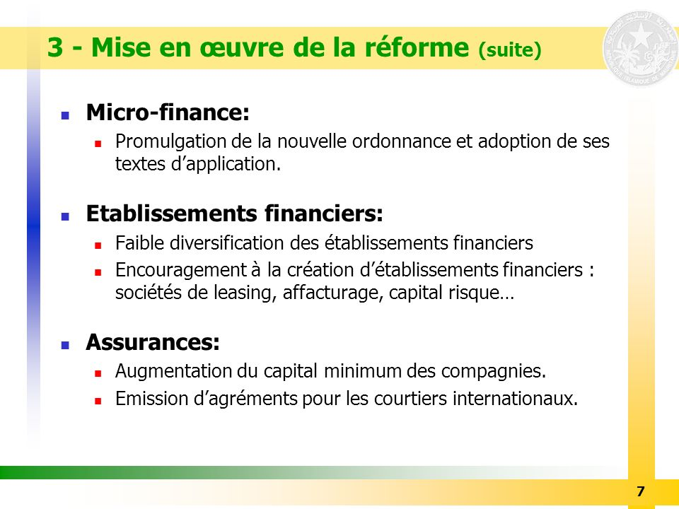 3 - Mise en œuvre de la réforme (suite)