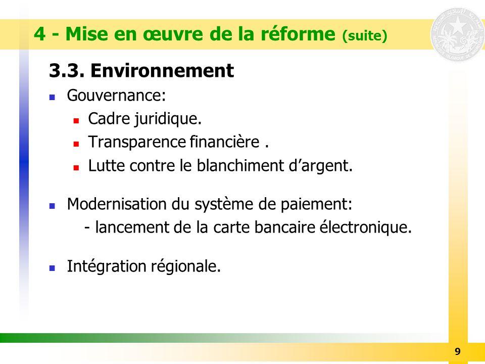 4 - Mise en œuvre de la réforme (suite)