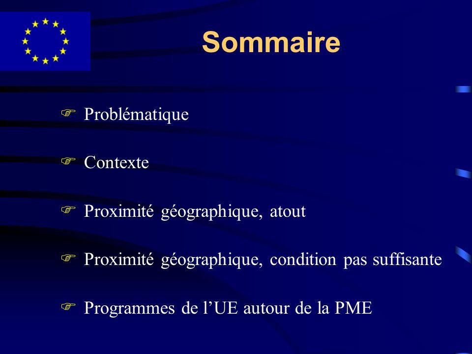 Sommaire Problématique Contexte Proximité géographique, atout