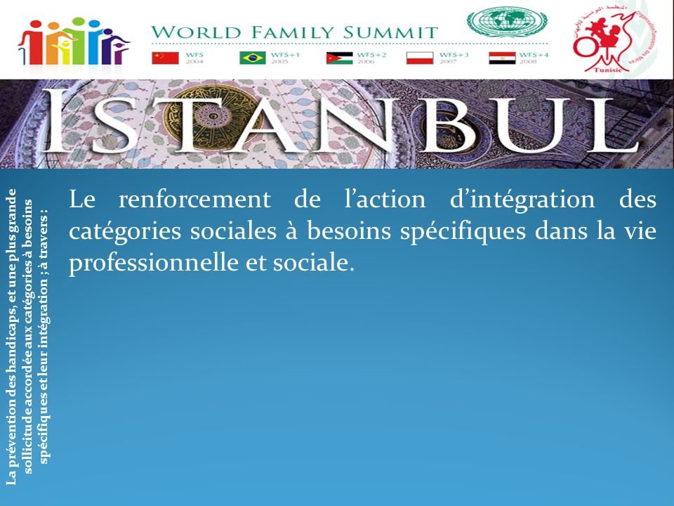 Le renforcement de l'action d'intégration des catégories sociales à besoins spécifiques dans la vie professionnelle et sociale.