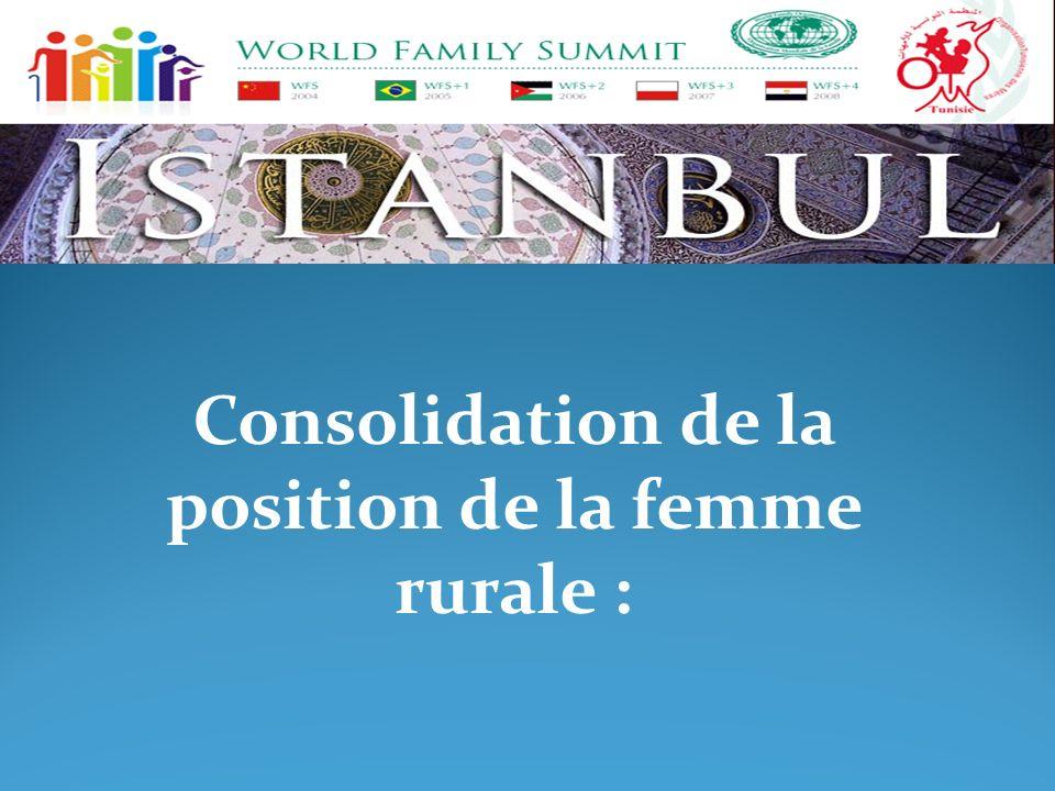 Consolidation de la position de la femme rurale :