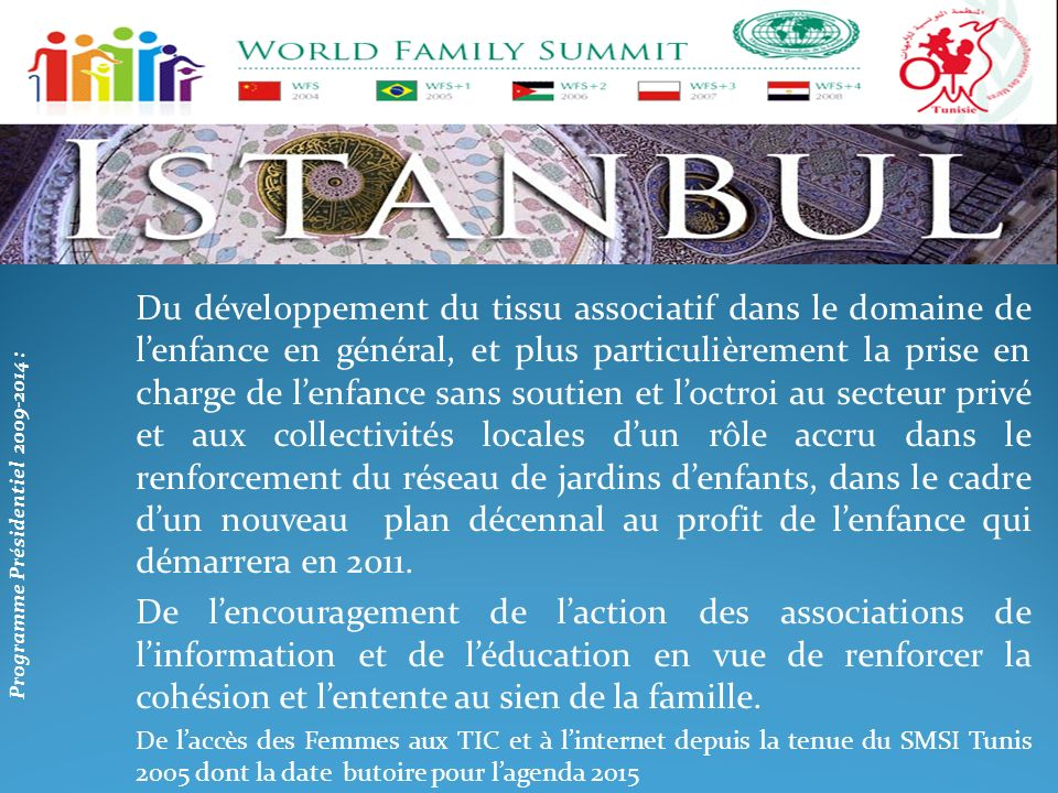 Programme Présidentiel 2009-2014 :