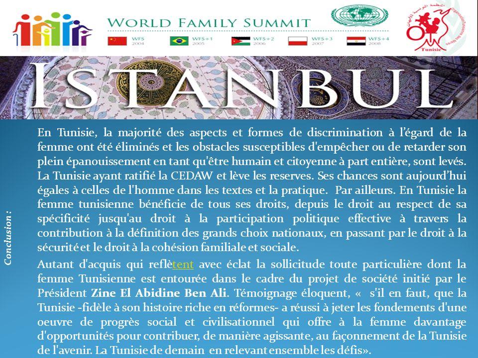 En Tunisie, la majorité des aspects et formes de discrimination à l'égard de la femme ont été éliminés et les obstacles susceptibles d empêcher ou de retarder son plein épanouissement en tant qu être humain et citoyenne à part entière, sont levés. La Tunisie ayant ratifié la CEDAW et lève les reserves. Ses chances sont aujourd'hui égales à celles de l homme dans les textes et la pratique. Par ailleurs. En Tunisie la femme tunisienne bénéficie de tous ses droits, depuis le droit au respect de sa spécificité jusqu au droit à la participation politique effective à travers la contribution à la définition des grands choix nationaux, en passant par le droit à la sécurité et le droit à la cohésion familiale et sociale.