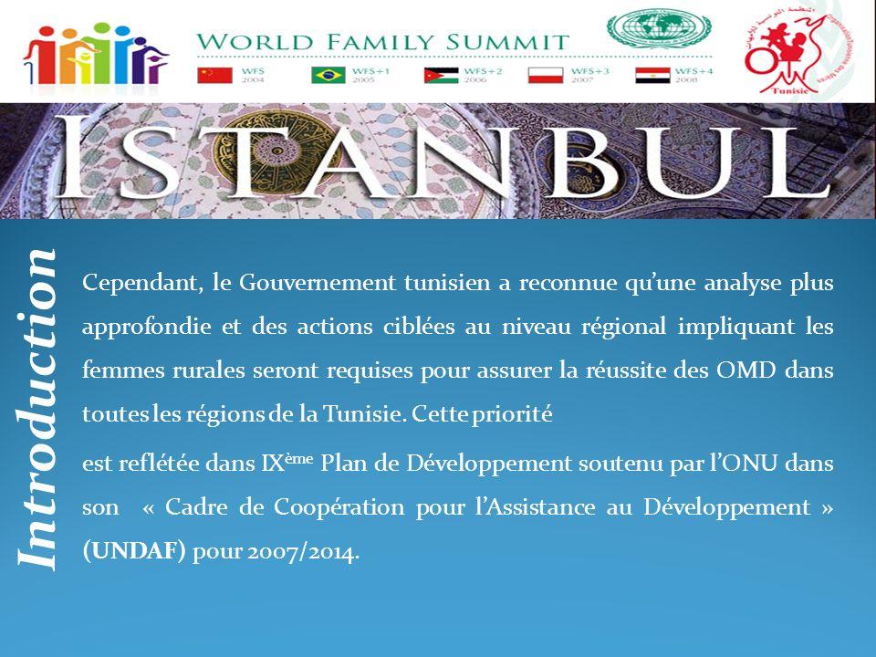 Cependant, le Gouvernement tunisien a reconnue qu'une analyse plus approfondie et des actions ciblées au niveau régional impliquant les femmes rurales seront requises pour assurer la réussite des OMD dans toutes les régions de la Tunisie. Cette priorité