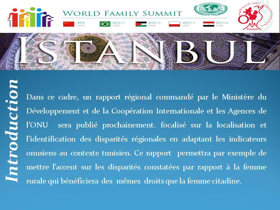 Dans ce cadre, un rapport régional commandé par le Ministère du Développement et de la Coopération Internationale et les Agences de l'ONU sera publié prochainement. focalisé sur la localisation et l'identification des disparités régionales en adaptant les indicateurs onusiens au contexte tunisien. Ce rapport permettra par exemple de mettre l'accent sur les disparités constatées par rapport à la femme rurale qui bénéficiera des mêmes droits que la femme citadine.