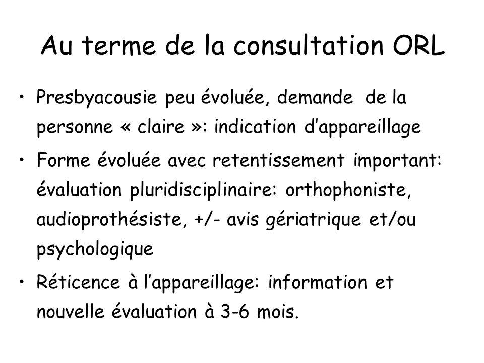 Au terme de la consultation ORL