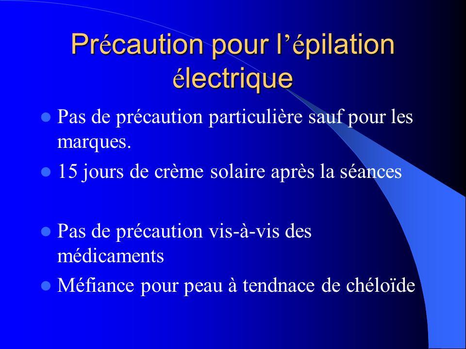Précaution pour l'épilation électrique