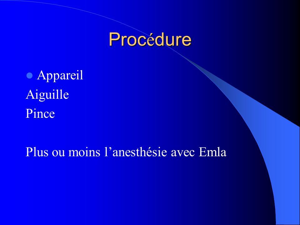 Procédure Appareil Aiguille Pince Plus ou moins l'anesthésie avec Emla