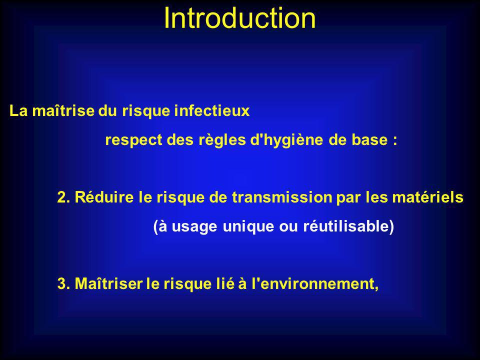 Introduction La maîtrise du risque infectieux
