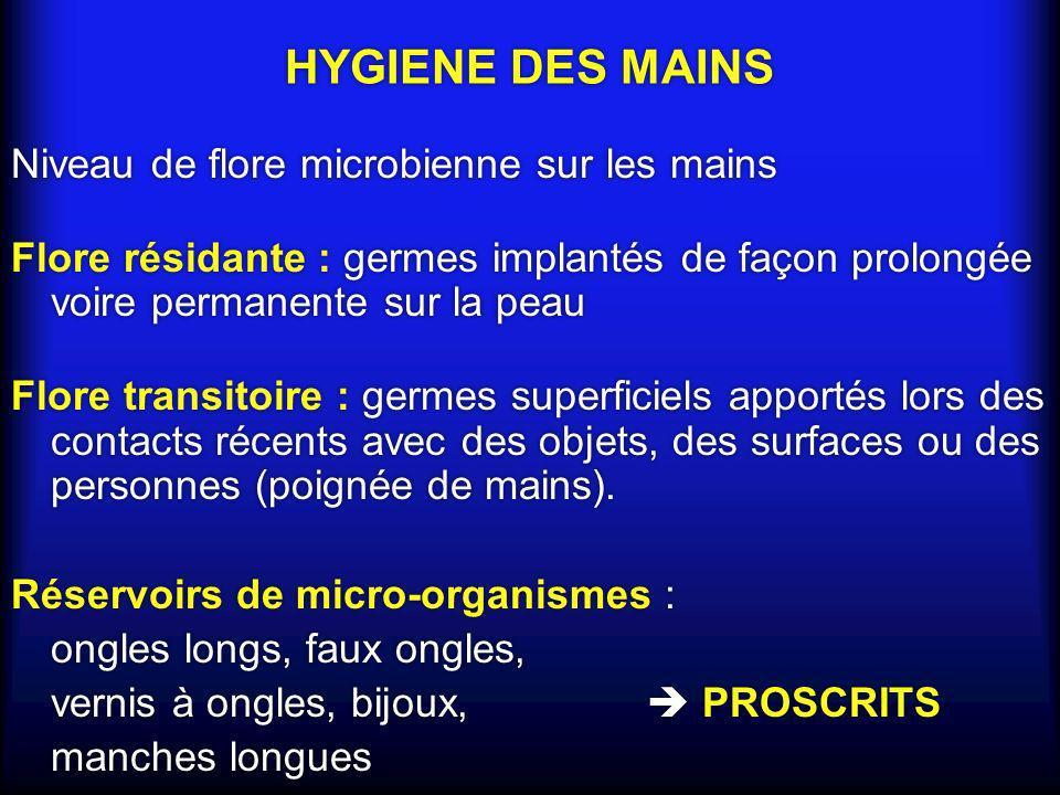 HYGIENE DES MAINS Niveau de flore microbienne sur les mains