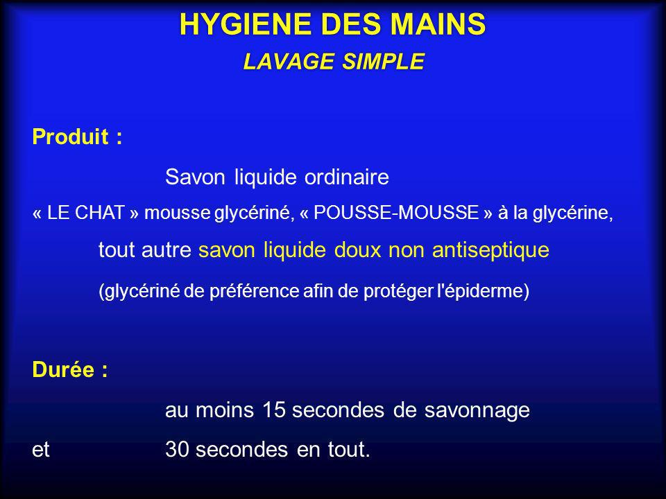 HYGIENE DES MAINS LAVAGE SIMPLE
