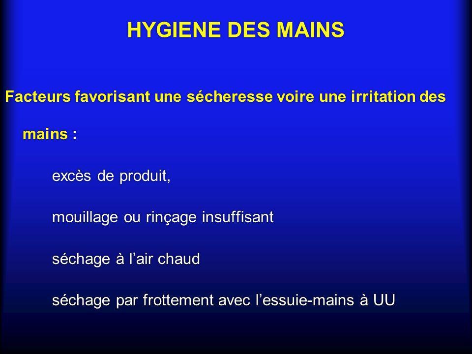 HYGIENE DES MAINSFacteurs favorisant une sécheresse voire une irritation des mains : excès de produit,