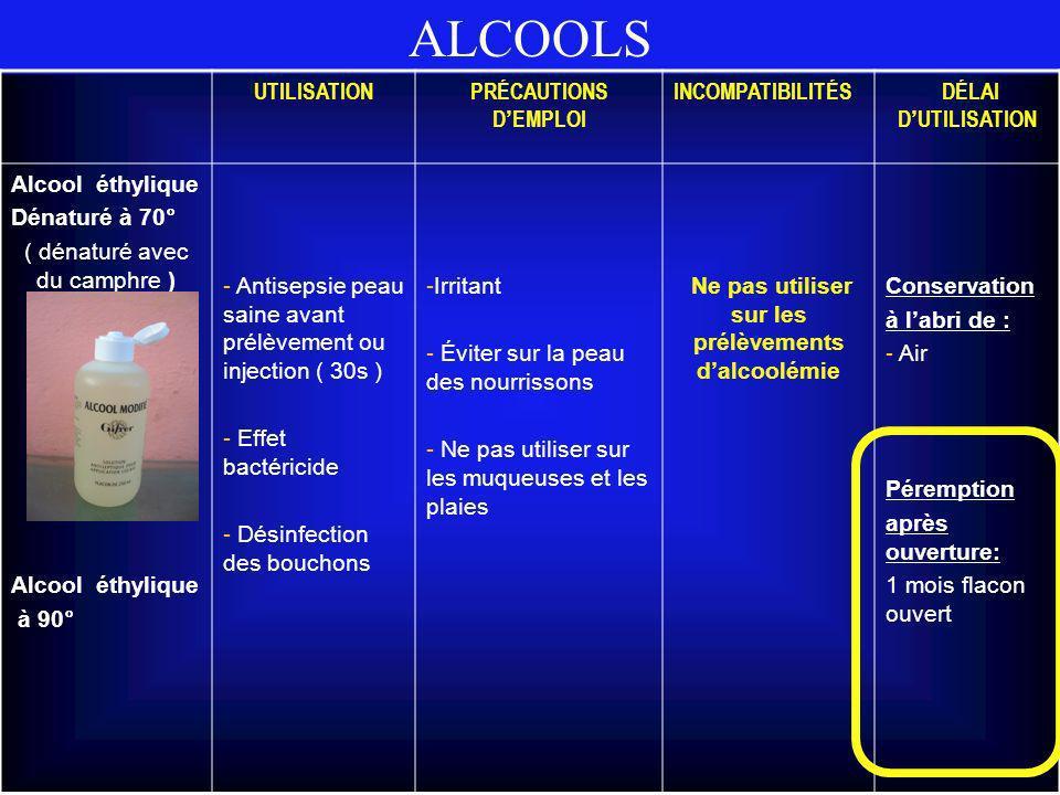 Ne pas utiliser sur les prélèvements d'alcoolémie