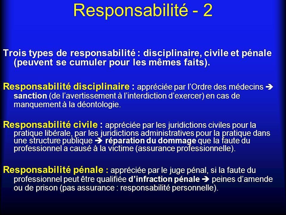 Responsabilité - 2 Trois types de responsabilité : disciplinaire, civile et pénale (peuvent se cumuler pour les mêmes faits).