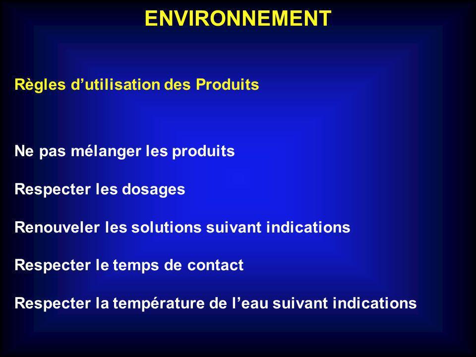 ENVIRONNEMENT Règles d'utilisation des Produits