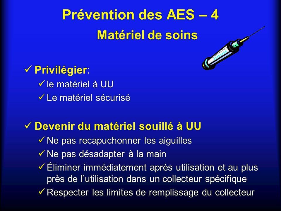 Prévention des AES – 4 Matériel de soins Privilégier: