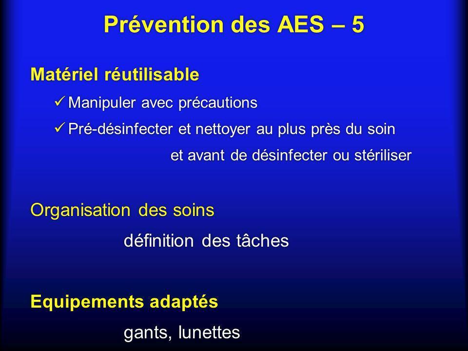 Prévention des AES – 5 Matériel réutilisable Organisation des soins
