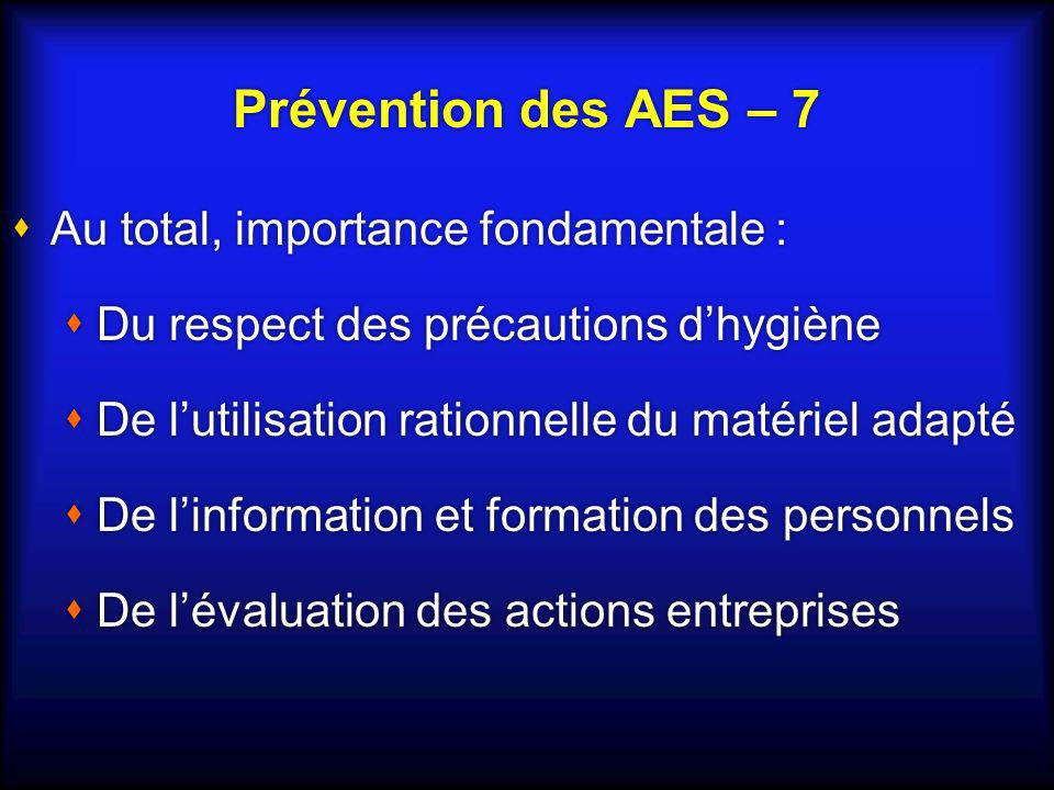 Prévention des AES – 7 Au total, importance fondamentale :