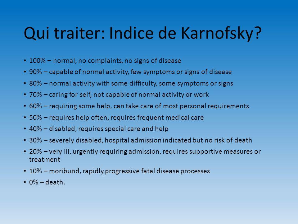 Qui traiter: Indice de Karnofsky
