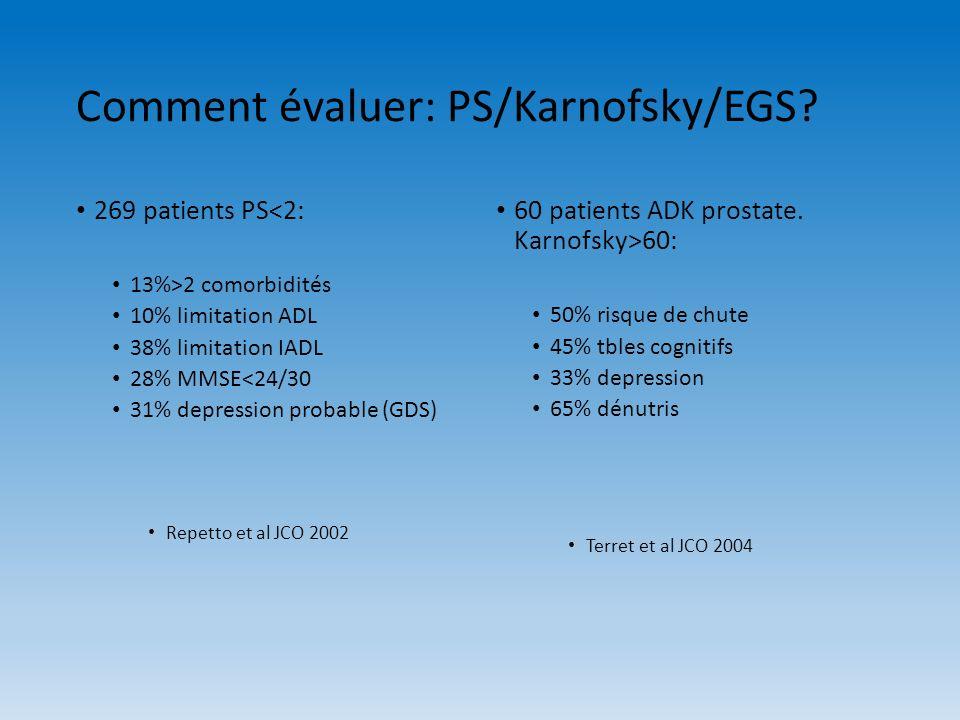 Comment évaluer: PS/Karnofsky/EGS