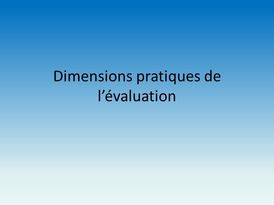 Dimensions pratiques de l'évaluation