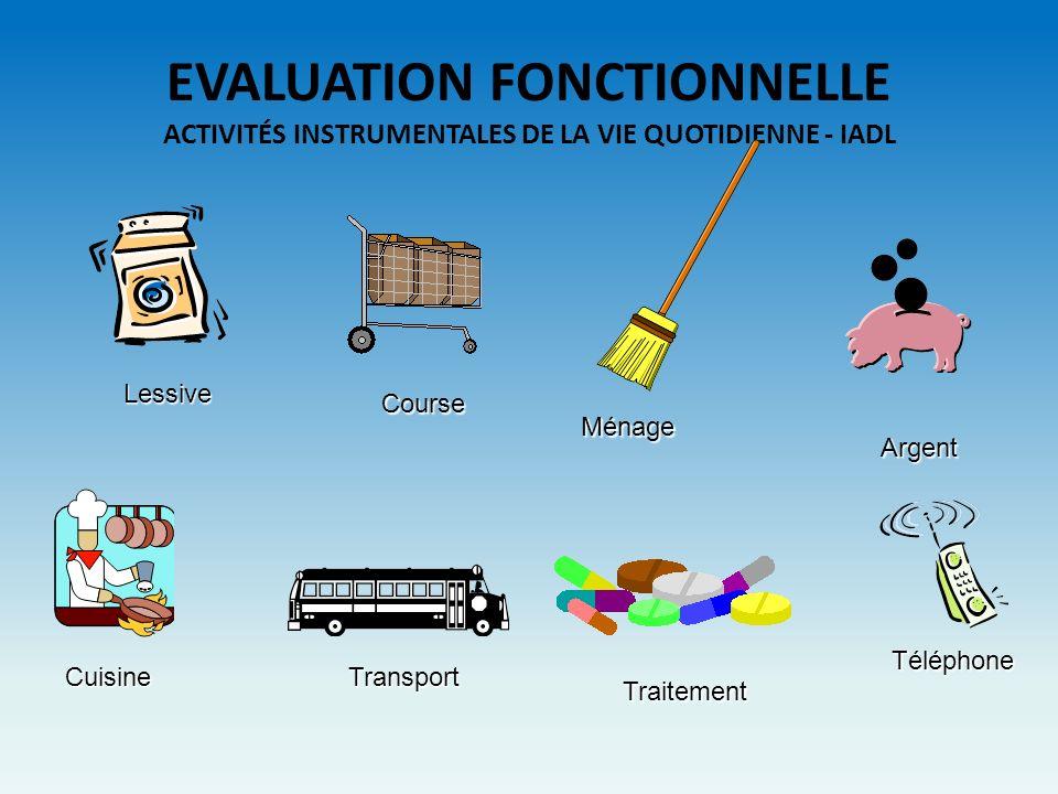 EVALUATION FONCTIONNELLE ACTIVITÉS INSTRUMENTALES DE LA VIE QUOTIDIENNE - IADL