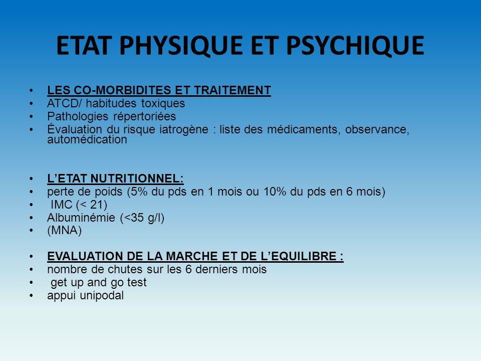 ETAT PHYSIQUE ET PSYCHIQUE
