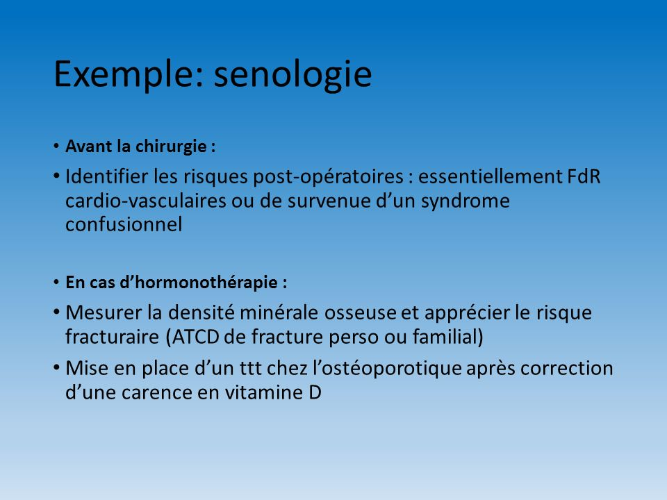Exemple: senologie Avant la chirurgie :