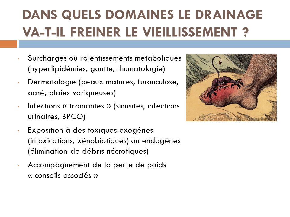 DANS QUELS DOMAINES LE DRAINAGE VA-T-IL FREINER LE VIEILLISSEMENT