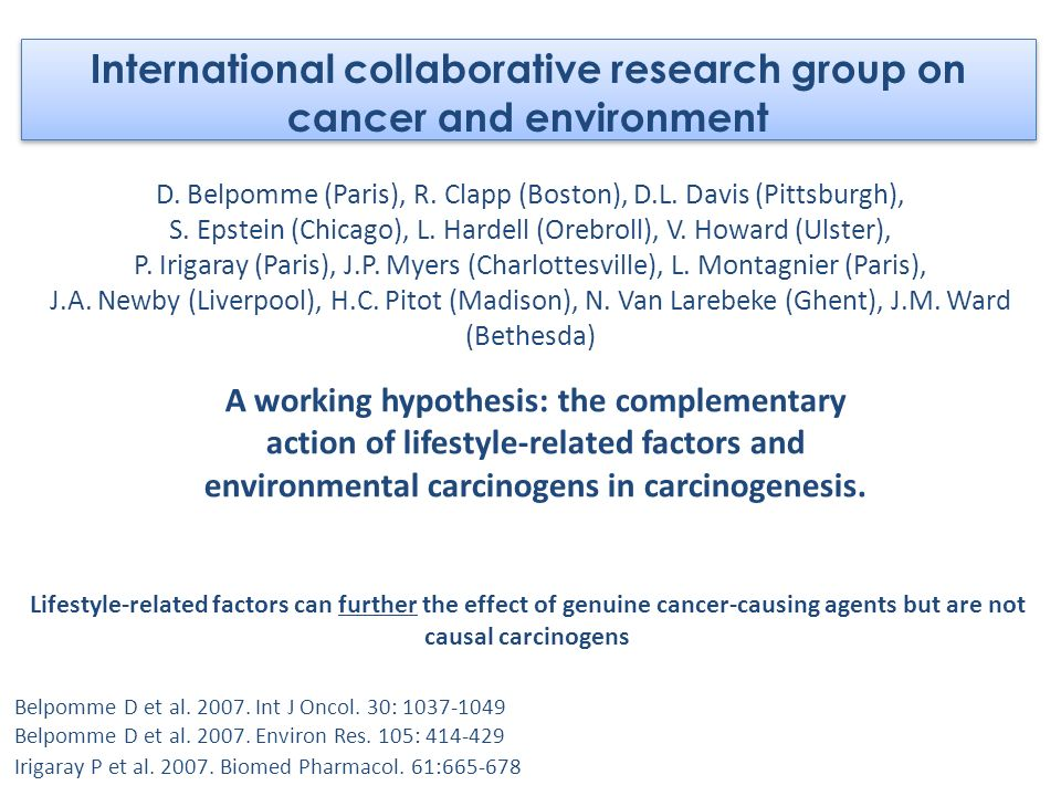 International collaborative research group on cancer and environment
