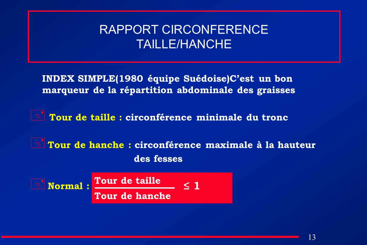 RAPPORT CIRCONFERENCE TAILLE/HANCHE