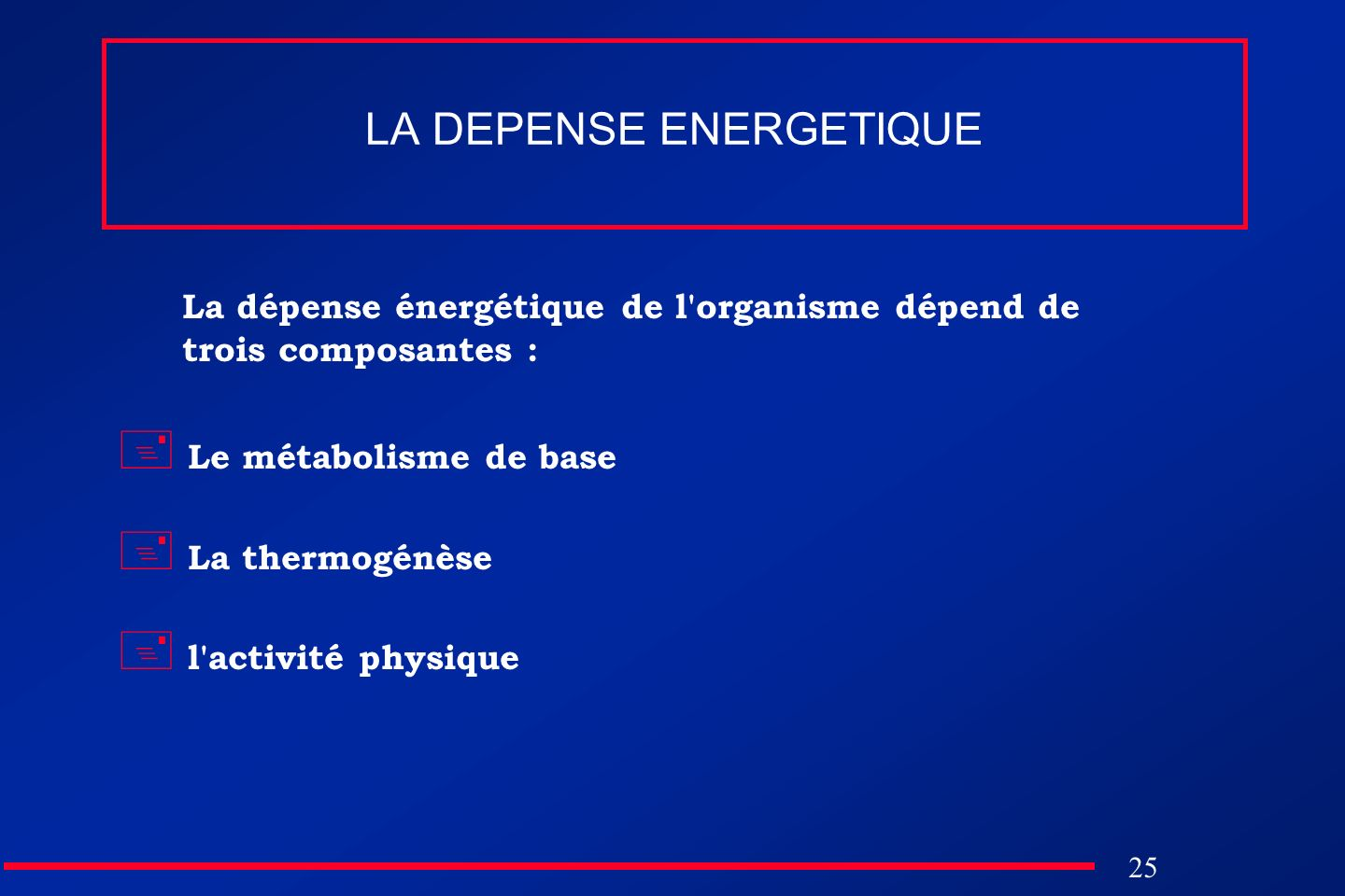 LA DEPENSE ENERGETIQUE