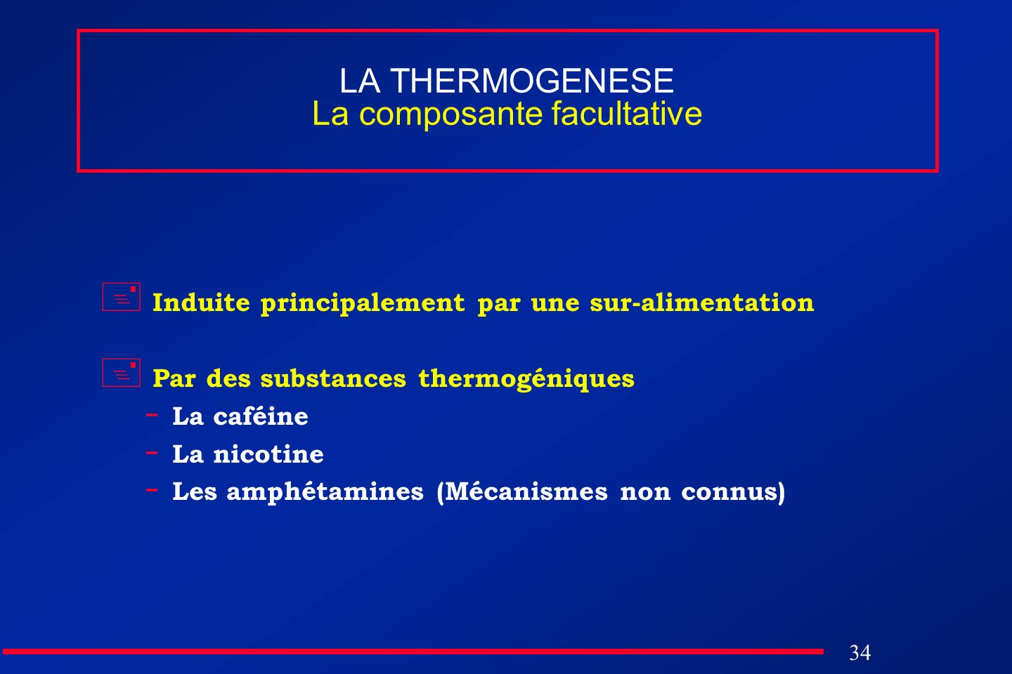 LA THERMOGENESE La composante facultative