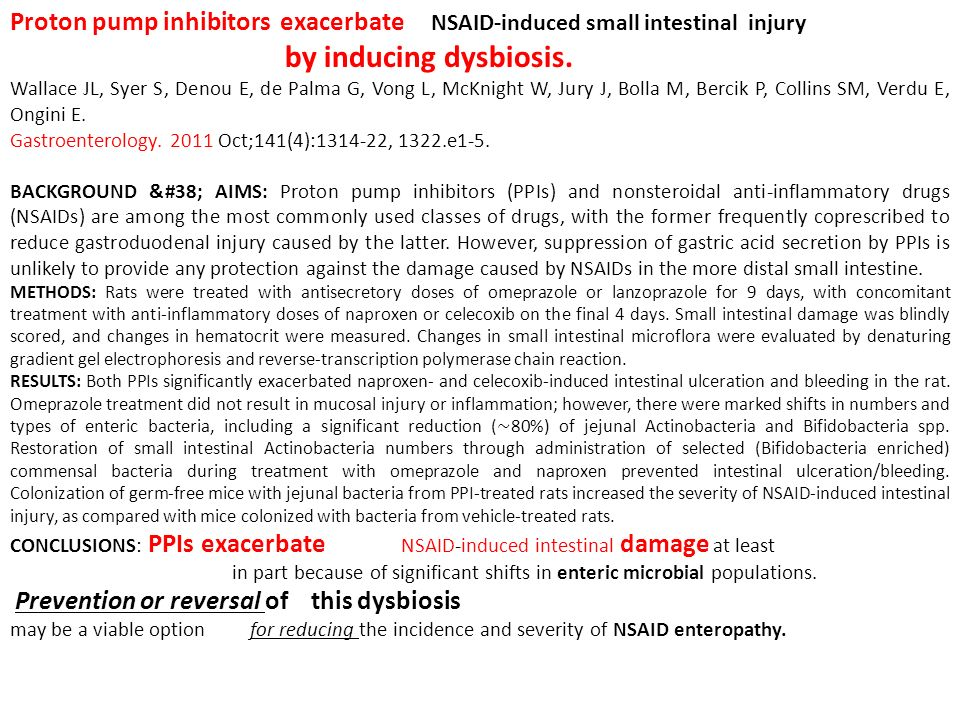 Proton pump inhibitors exacerbate NSAID-induced small intestinal injury