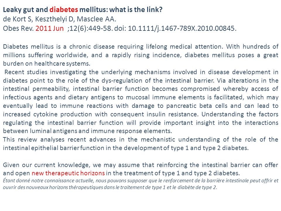 Leaky gut and diabetes mellitus: what is the link
