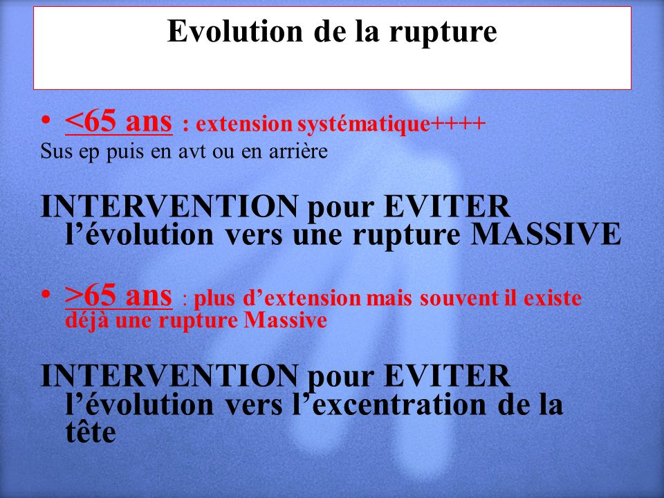 Evolution de la rupture