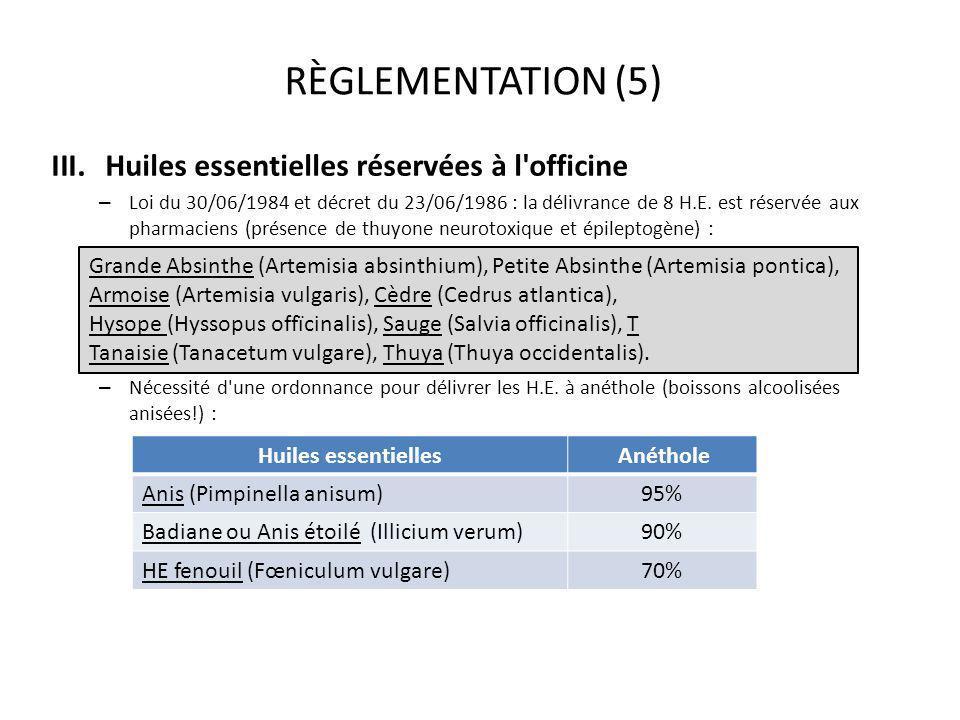 RÈGLEMENTATION (5) Huiles essentielles réservées à l officine