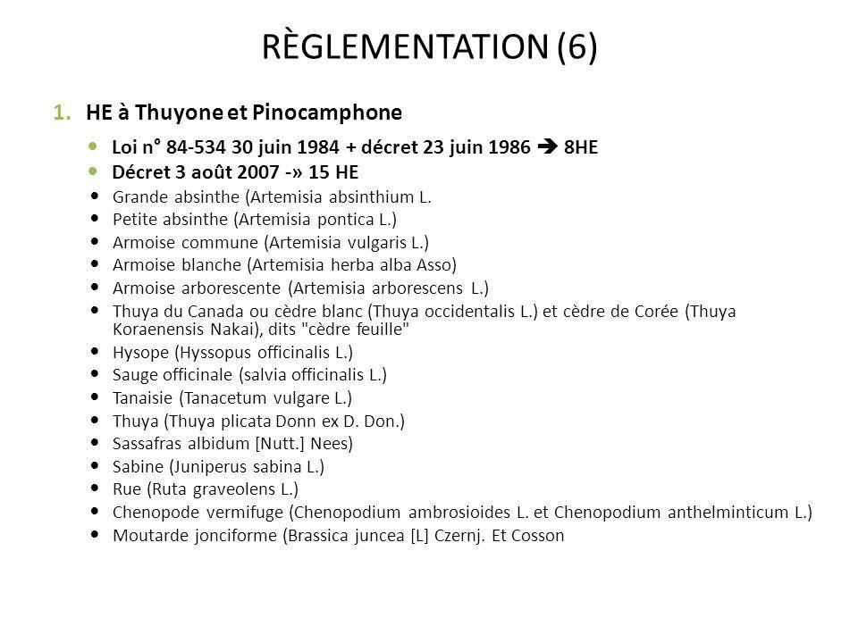 RÈGLEMENTATION (6) HE à Thuyone et Pinocamphone