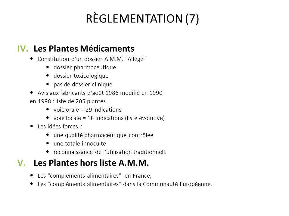 RÈGLEMENTATION (7) Les Plantes Médicaments