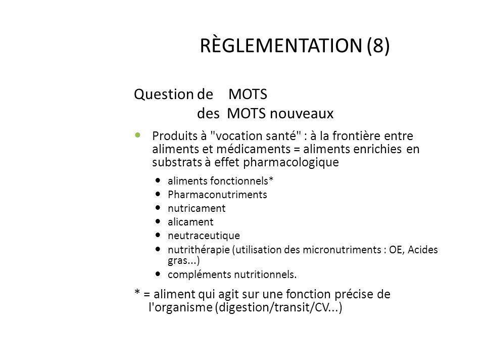 RÈGLEMENTATION (8) Question de MOTS des MOTS nouveaux