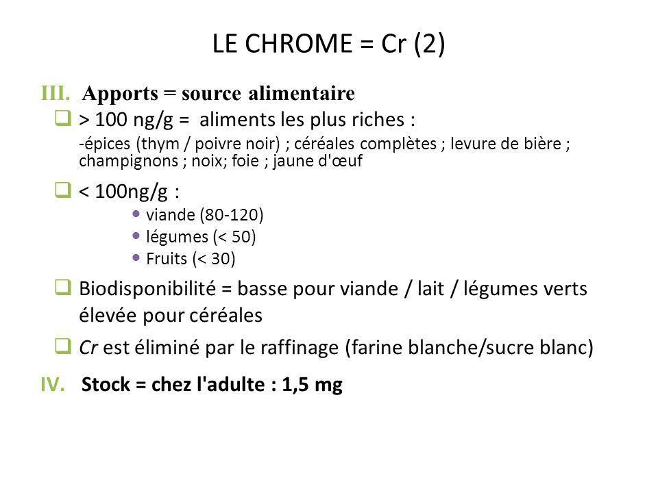 LE CHROME = Cr (2) Apports = source alimentaire