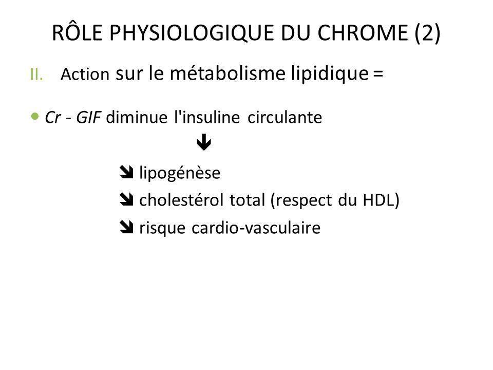 RÔLE PHYSIOLOGIQUE DU CHROME (2)