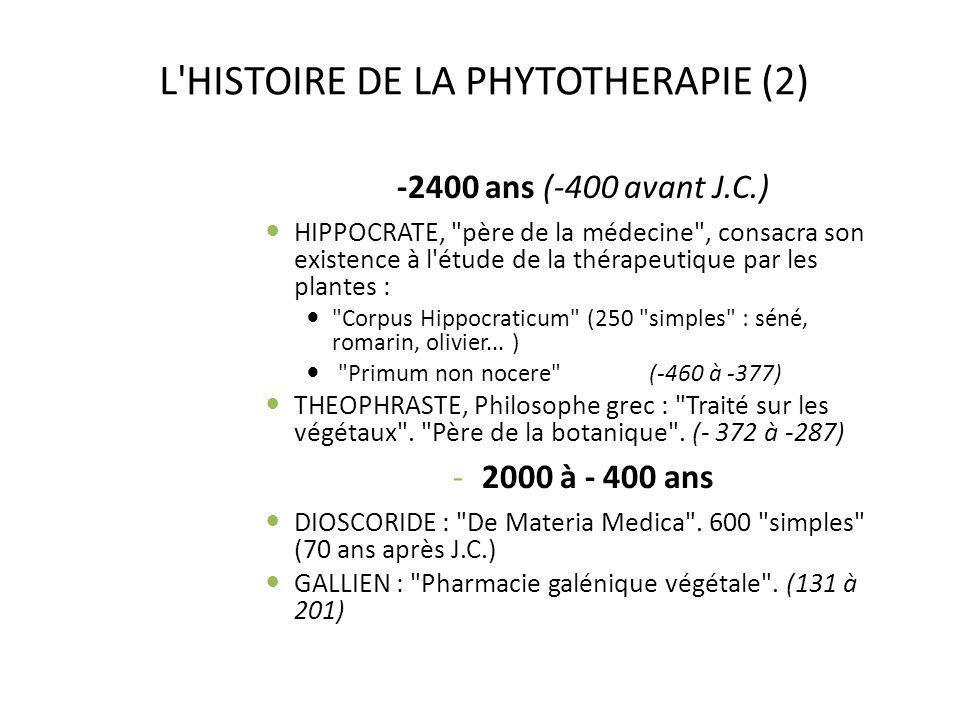 L HISTOIRE DE LA PHYTOTHERAPIE (2)