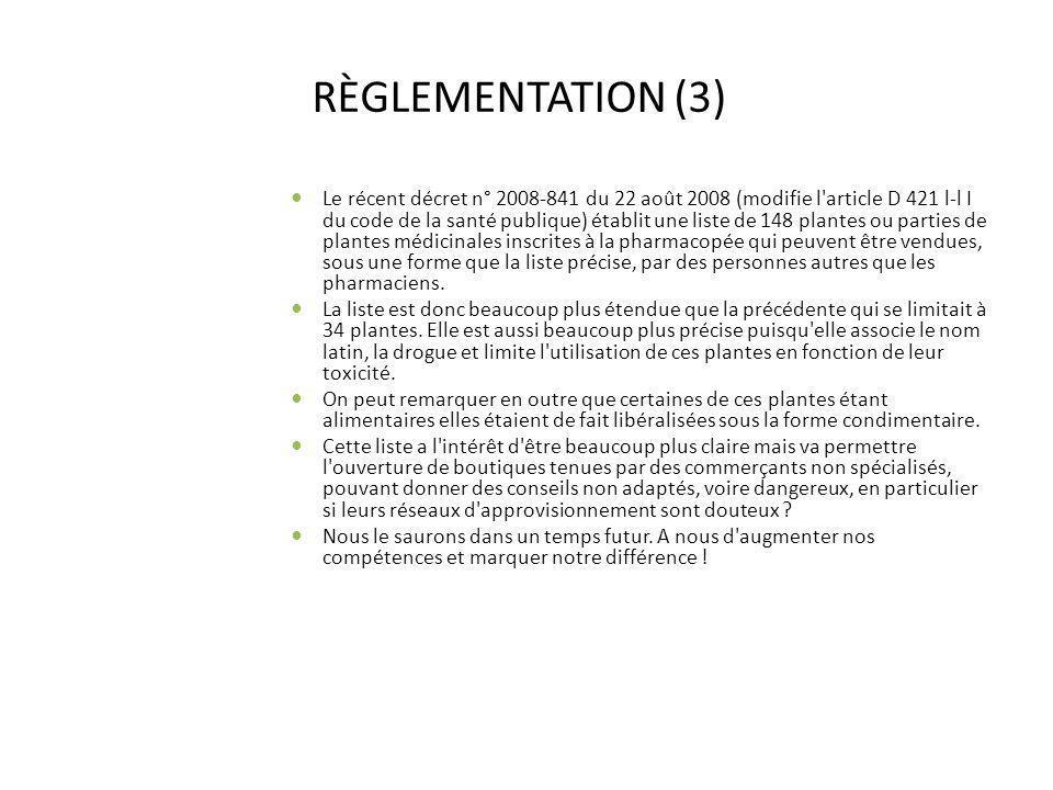 RÈGLEMENTATION (3)
