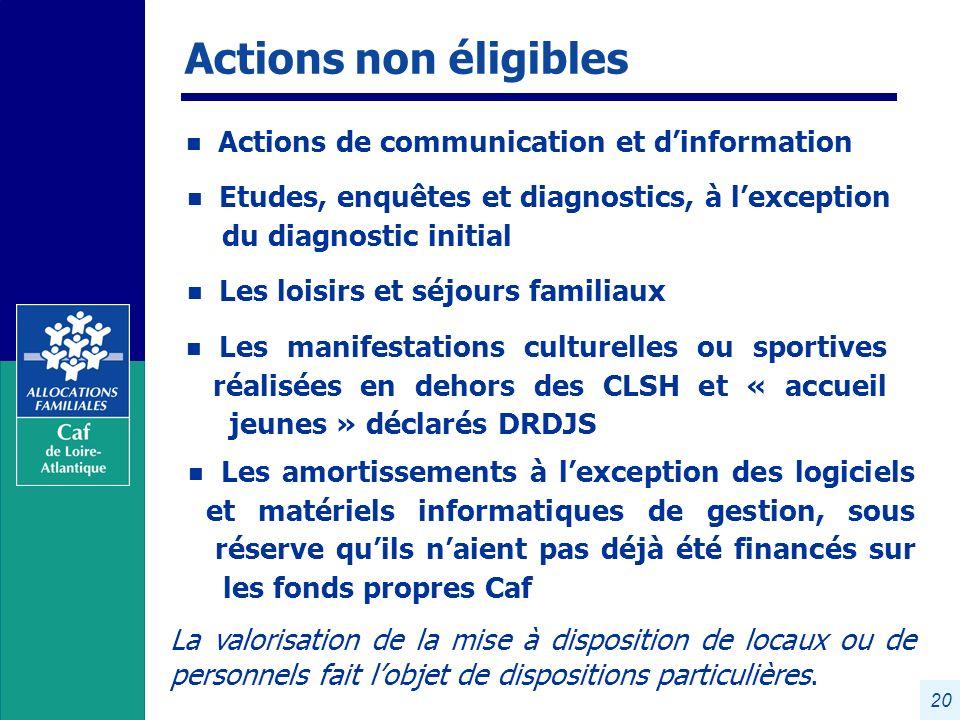 Actions non éligibles Actions de communication et d'information