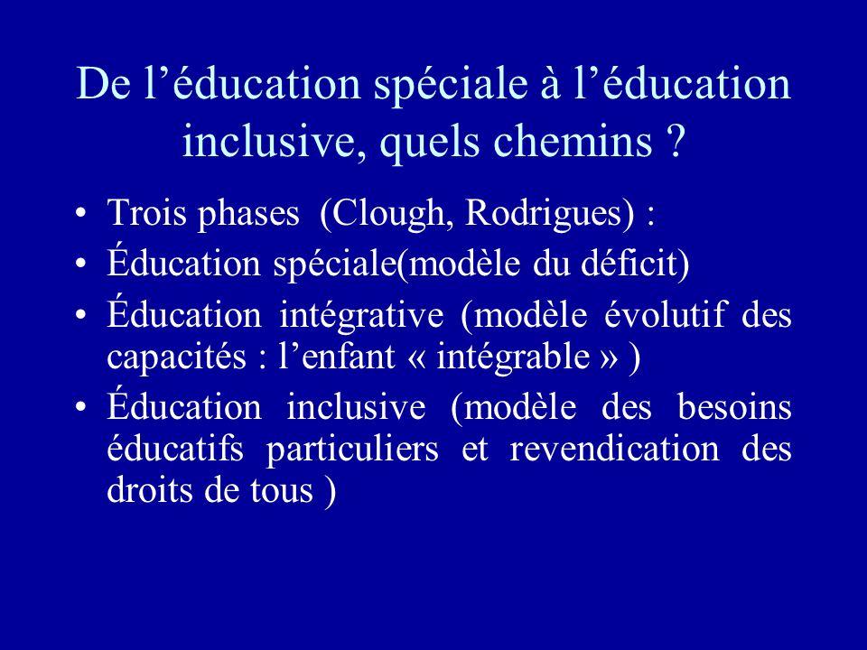 De l'éducation spéciale à l'éducation inclusive, quels chemins